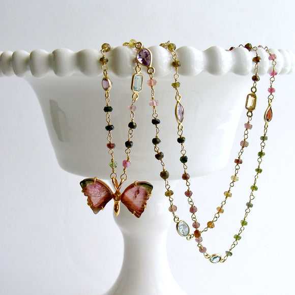 Pink Green Watermelon Tourmaline Butterfly Necklace - Papillon XX Necklace