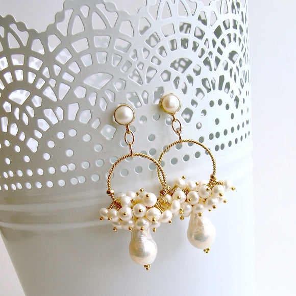 Flameball Pearl Cluster Hoop Earrings - Liesel Earrings