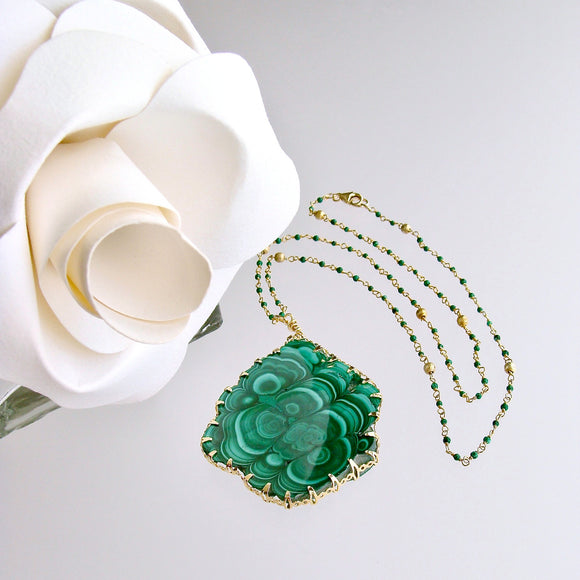 Malachite Pendant Satellite Malachite Chain Necklace - Melia Necklace