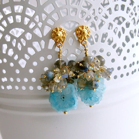 Aqua Stalactite Slices With Aquamarine Labradorite Clusters - Millie Earrings