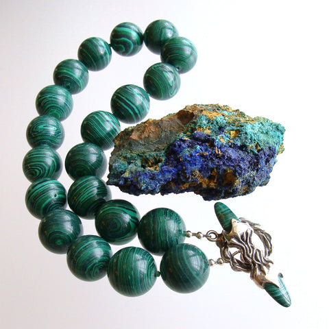 Malachite Choker Necklace With Sterling Malachite Toggle - Monique Necklace