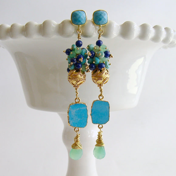Sleeping Beauty Turquoise Chrysoprase Lapis Cluster Earrings - Morgaine II Duster Earrings