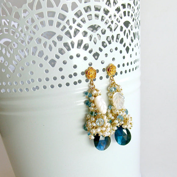 Labradorite Seed Pearls London Blue Topaz Cluster Earrings - Neige de Jardin Earrings