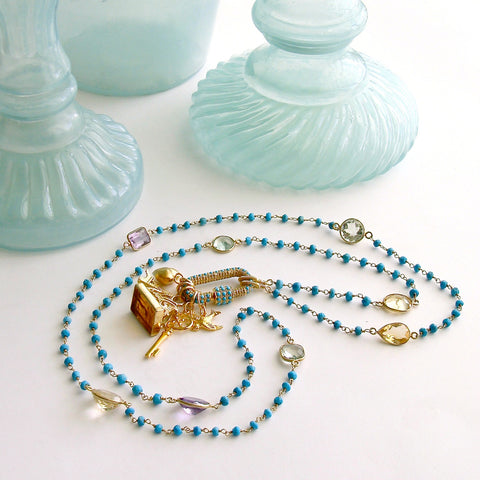 Diamond Turquoise Pave Lock Turquoise Citrine Amethyst Prasiolite, Topaz Intaglio Fob Necklace - Serrures D'Amour Necklace