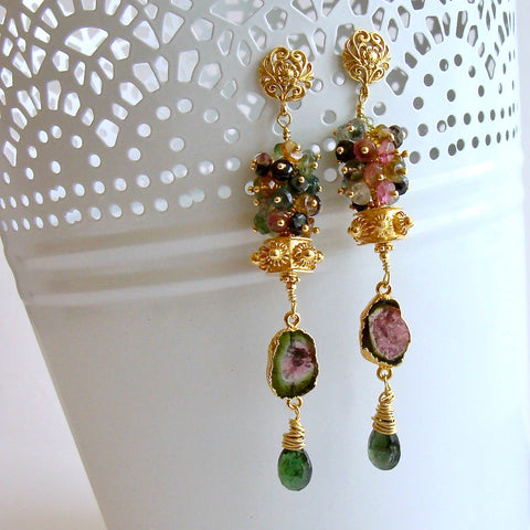 Tourmaline Slices Long Tourmaline Cluster Earrings - Tatiana III Earrings
