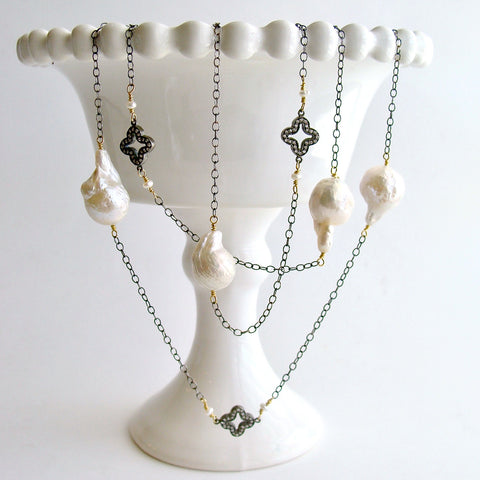 #2 Felice Necklace - Baroque flameball Pearls, Pave Quatrefoil Stations Necklace