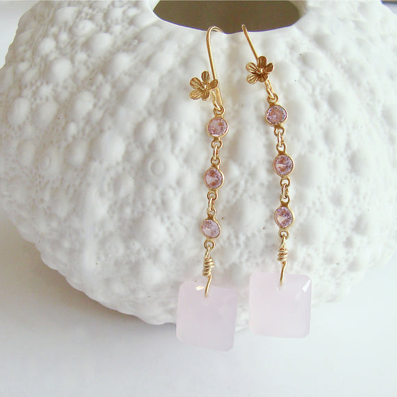Emerald Cut Rose Quartz - Audrey Rose Duster Earrings
