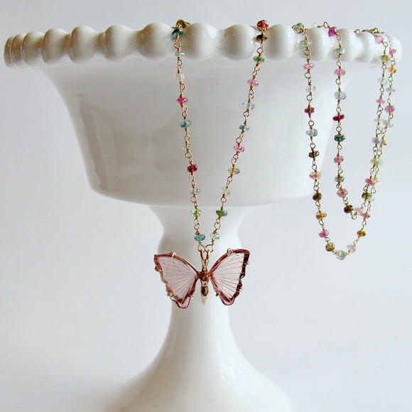 Pink Tourmaline Butterfly Pendant Tourmaline Beaded Chain - Le Papillon XXIV Necklace