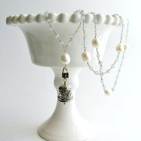 "Aquamarine Pearl Sterling Silver ""Sisters"" Bell Pendant Necklace  - ""Sisters"" Bell Necklace"