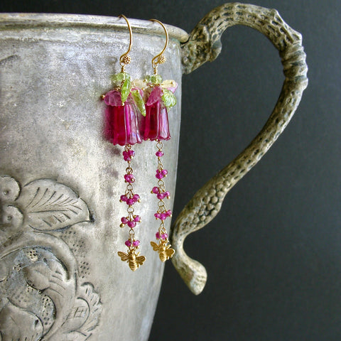 Carved Hot Pink Quartz Pink Sapphire Peridot Lemon Quartz Leaves Bee Flower Earrings - Veronica's Garden II Earrings