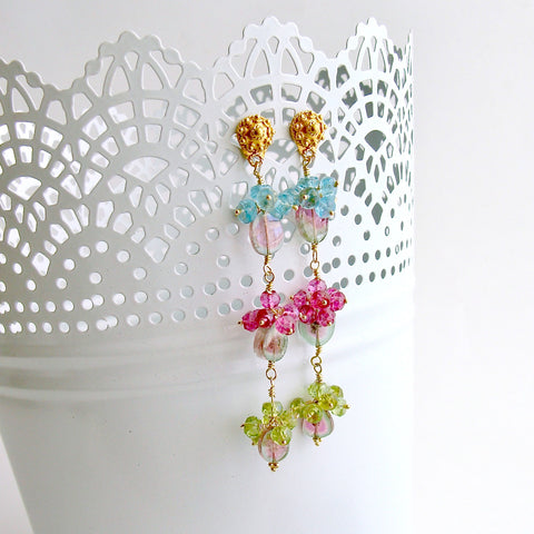 Watermelon Tourmaline Slices Peridot Pink Topaz Apatite Duster Earrings - Andrea II Earrings