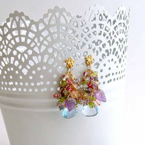 Blue/Pink Topaz, Amethyst, Lemon/Cherry Quartz, Peridot, Iolite Cluster Earrings - Fleur VII Earrings