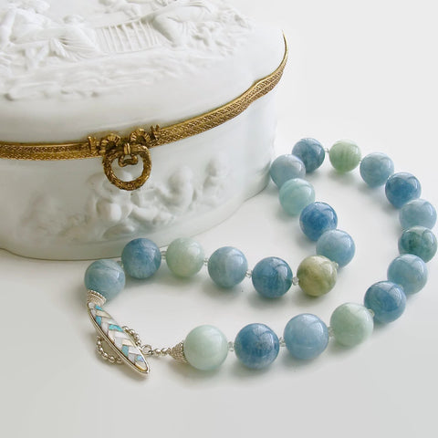 Aquamarine Prasiolite Opal MOP Choker Necklace - Brynn IV Necklace