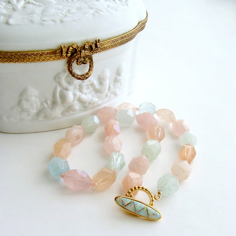 Beryl Aquamarine Morganite Nugget Choker Necklace Opal Inlay Toggle - Candie Necklace