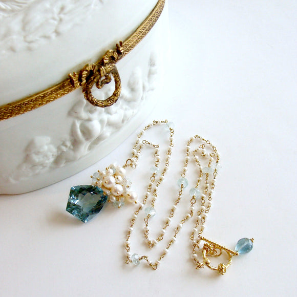 Shield Cut Aquamarine Seed Pearl Cluster Pendant Necklace - Diana II Necklace