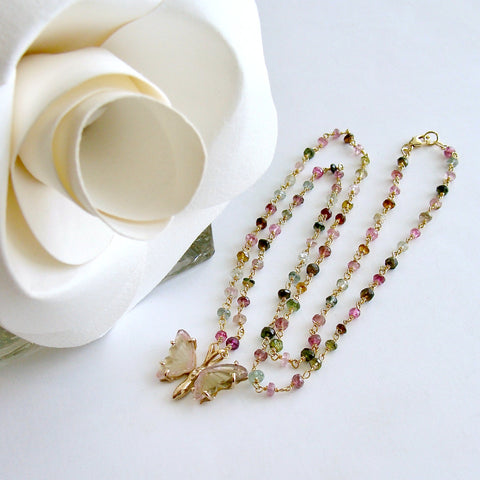 Ballet Pink Green Watermelon Tourmaline Butterfly Necklace - Papillon XVIII Necklace