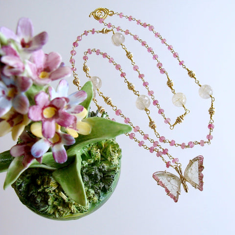 Watermelon Tourmaline Butterfly Necklace Pink Sapphires Rutilated Quartz - Papillon XVII Necklace