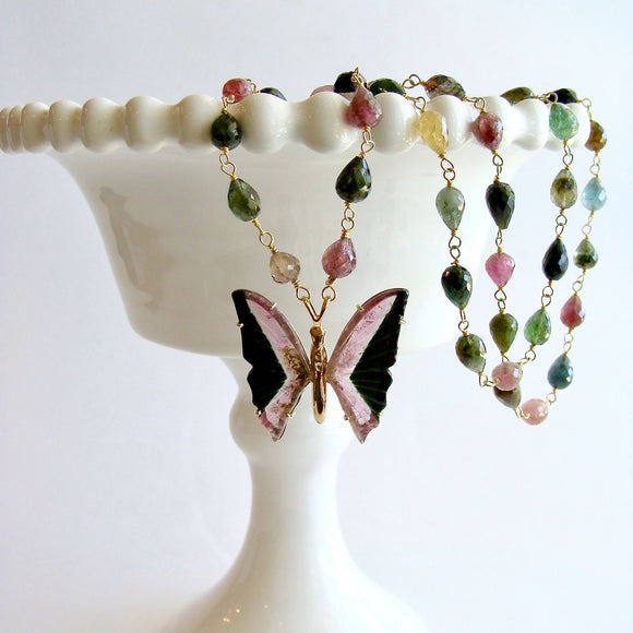 Pink Black Watermelon Tourmaline Butterfly Necklace - Papillon XVI Necklace