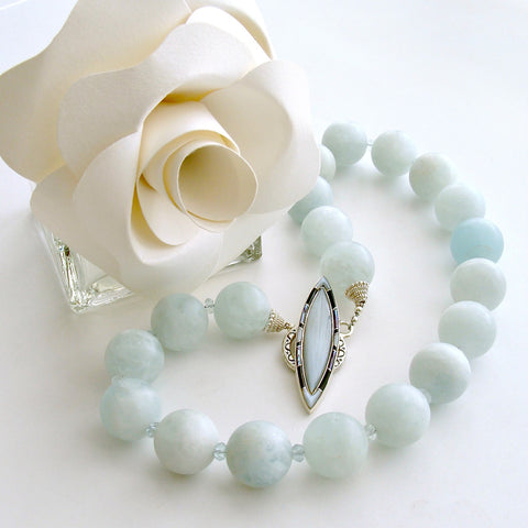 Matte Aquamarine Choker Necklace - Les Tresors de la Mer II Necklace