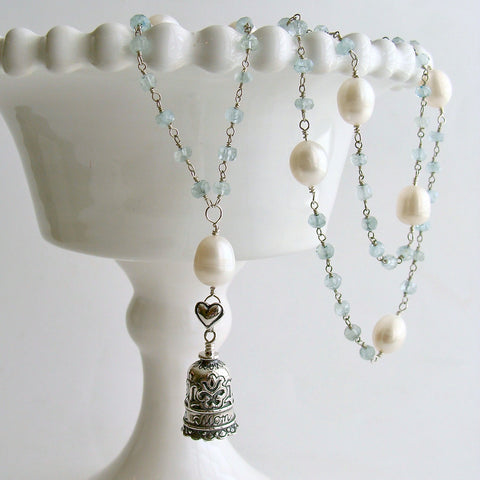 "Aquamarine Pearl Sterling Silver ""MOM"" Heart Bell Pendant Necklace  - ""Mom"" Bell Necklace"