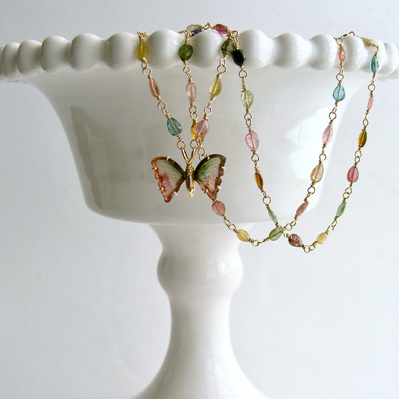 18/14K Solid Gold Pink Green Watermelon Tourmaline Butterfly Necklace - Le Papillon XIV Necklace