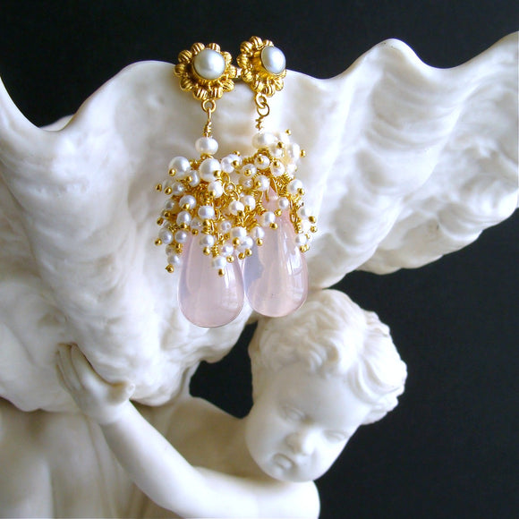 Rose Quartz Seed Pearl Cluster Earrings - Pétales de Rose IV Earrings