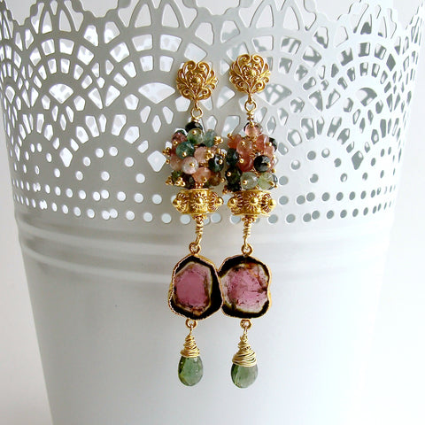 Tourmaline Slices Long Tourmaline Cluster Earrings - Tatiana Earrings