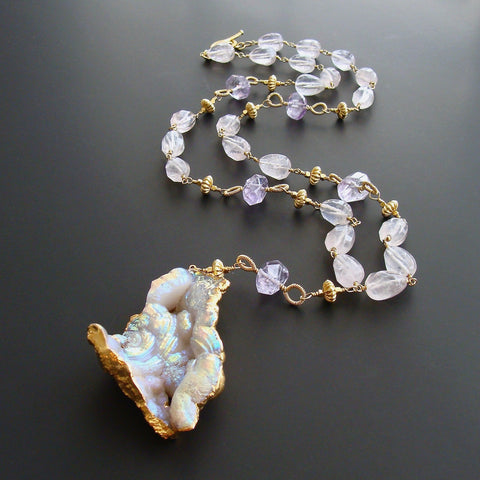 Fossilized Aura Coral Pink Amethyst Rose Quartz Necklace - Violet II Necklace