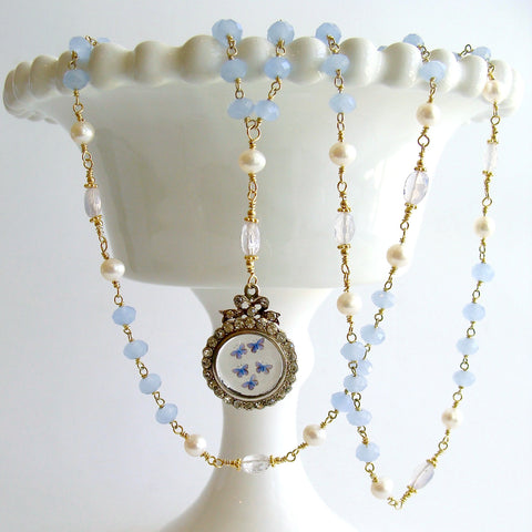 #3 Kaleidoscope de Papillon II Necklace - Blue Chalcedony Scorolite Pearls