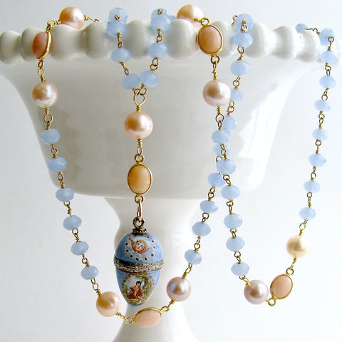#3 Brezza Dolce III Necklace - Blue Chalcedony Pink Opal Enamel Vinaigrette Necklace