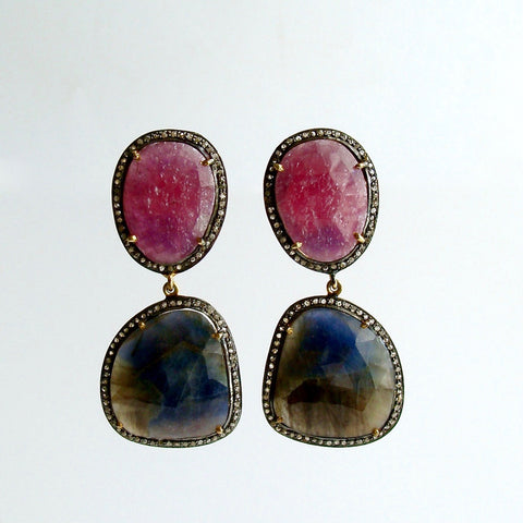 #1 Katie Earrings - Raspberry Denim Blue Sapphire Diamond Earrings