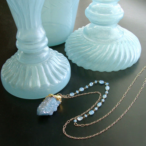 #4 Pixie Necklace - Aqua Chalcedony Gold Vermeil Spirit Quartz Pendant