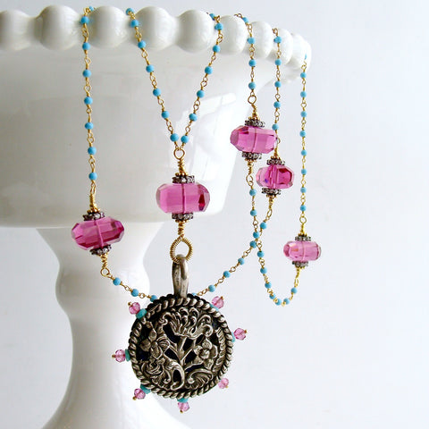 #6 Serenity Necklace - Turquoise Pink Topaz Pink Quartz Victorian Pin Wheel