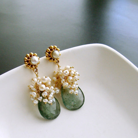 #4PM Le Fleurs de la Mer II Earrings - Moss Aquamarine Seed Pearls