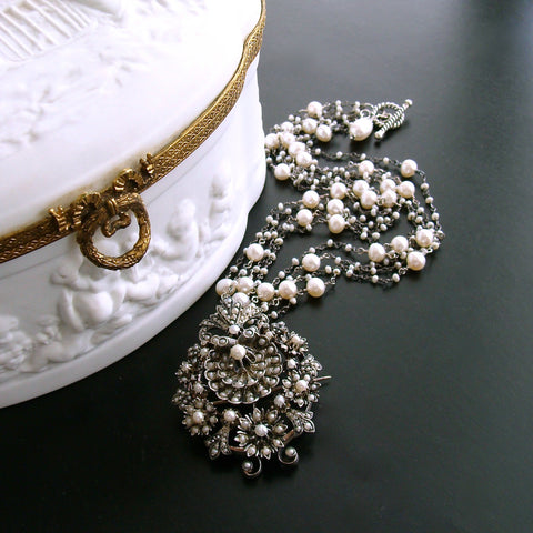 #4 Ianessa Necklace - Sterling Austro Hungarian Shell Seed Pearl Necklace