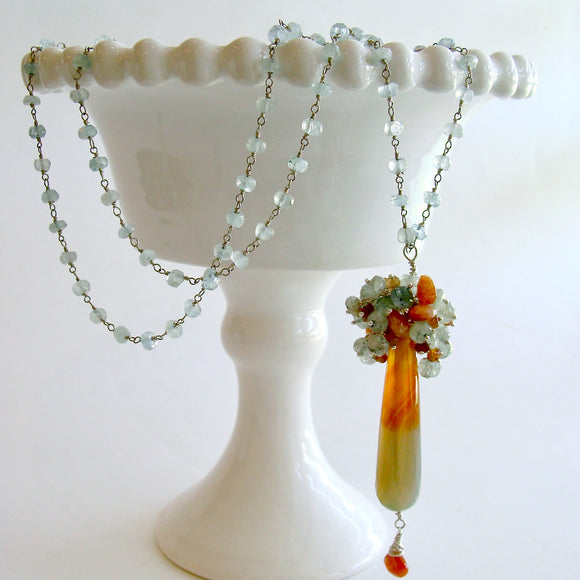 Moss Aquamarine, Sunstone, Spessartite, Hessonite Clusters and Agate Pendant Necklace - Abbi II Necklace