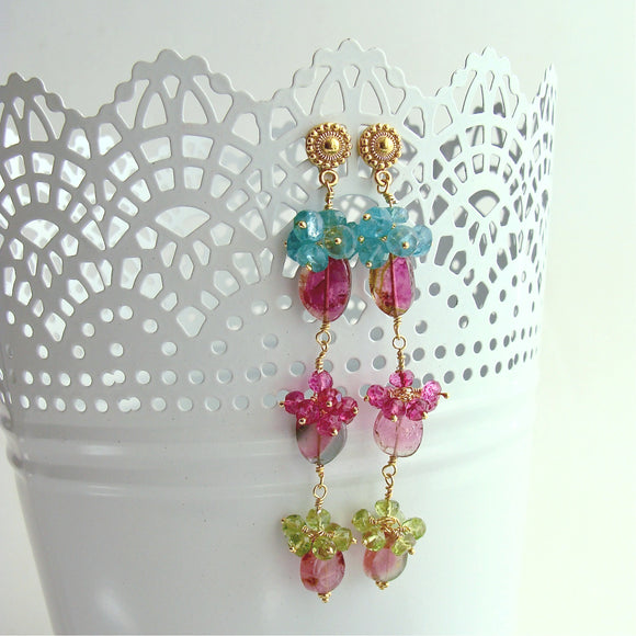 Watermelon Tourmaline Slices Pink Topaz Apatite Peridot Duster Earrings - Andrea V Earrings