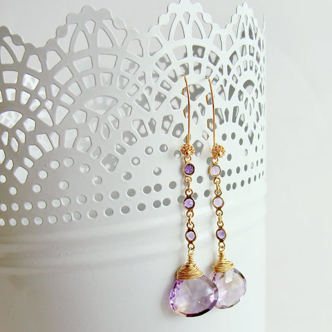 Ametrine Hearts Amethyst - Audrey Ametrine Duster Earrings