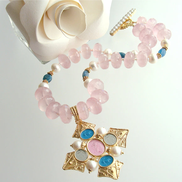 Maltese-Style Intaglio Removable Pendant, Rose Quartz, Apatite and Pearls Choker Necklace - Catania Necklace