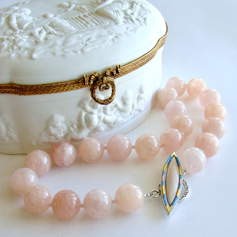 Morganite Beryl Ballet Pink Opal Inlay Toggle Choker Necklace - Dahlia V Necklace