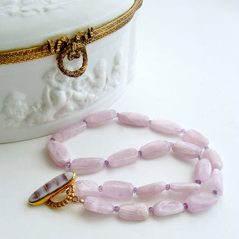 Orchid Kunzite Nuggets Amethyst Choker Necklace Shell Inlay Toggle - Orianne V Necklace