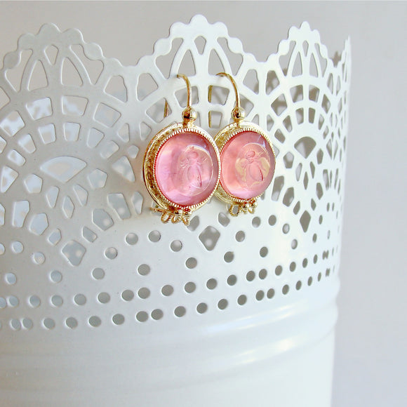 Napoleonic Bee Salmon Pink Intaglios Earrings - Peu d'Abelle Earrings
