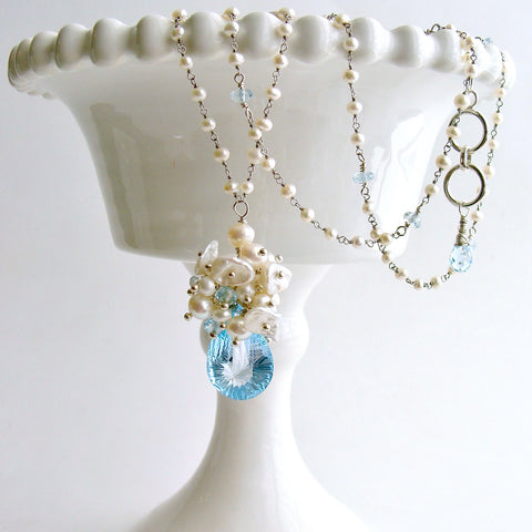 Fancy Cut Blue Topaz Seed Pearl Cluster Pendant Necklace - Diana Necklace