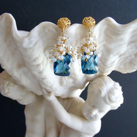 London Blue Topaz Seed Pearls Moonstone Cluster Earrings - Dione VIII Earrings
