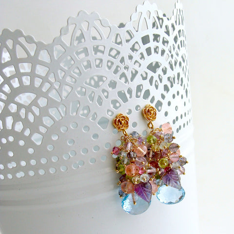 Blue/Pink Topaz, Amethyst, Lemon/Cherry Quartz, Peridot, Iolite Cluster Earrings - Fleur IV Earrings