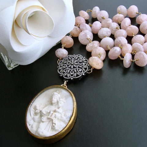 Pink Morganite Filigree Clasp With French Meerschaum Reliquary Ex Voto Pendant - Madonna Necklace