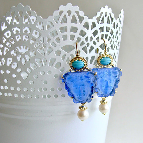 Venetian Glass Intaglio/Cameo Sleeping Beauty Turquoise Earrings - Medusa Blue Earrings