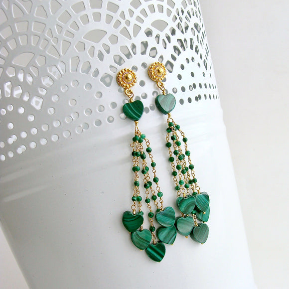 Malachite Hearts Duster Tassel Earrings -  Monique II Duster Earrings