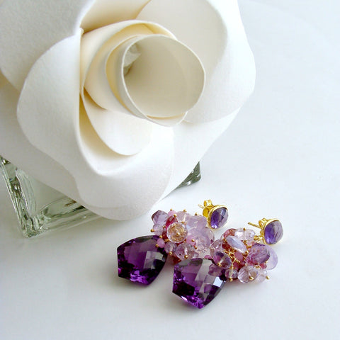 Lab Created Alexandrite Cluster Earrings - Pink Tourmaline Pink Amethyst Moss Ruby Scorolite Orchid Chalcedony - Pansy II Earrings