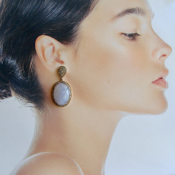 Pave Champagne Diamonds & Holly Blue Chalcedony Earrings - Payton Earrings